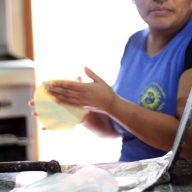Carmen making tortillas