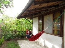 swinging on the hammock