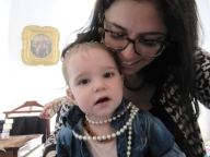 Camila and I with Granma's perls